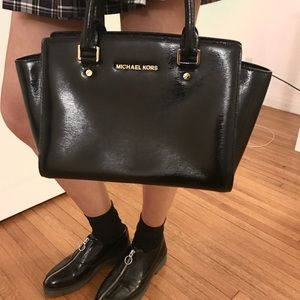 Michael Kors black patent satchel